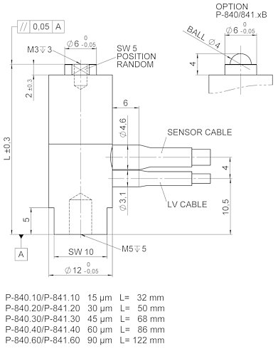 P-840 / P-841, dimensions in mm. Sensor included only with P-841.