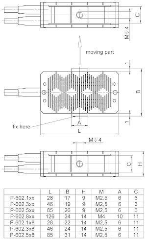 P-602, dimensions in mm
