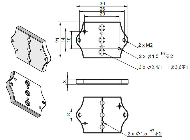 Adapter plate Q-121.80U, dimensions in mm