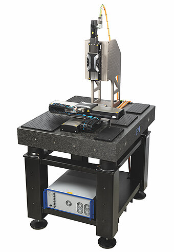 X-417.2xx with accessories: XY system and Z axis on granite plate, G-901 3-axis controller controller; X-417.Z02 perforated plate set, X-417.Z01 base frame