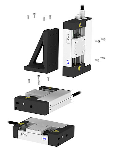 Exploded view of an XYZ assembly consisting of three L-505.023212F linear stages