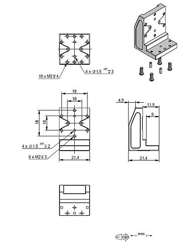 Adapter bracket Q-122.00U, dimensions in mm