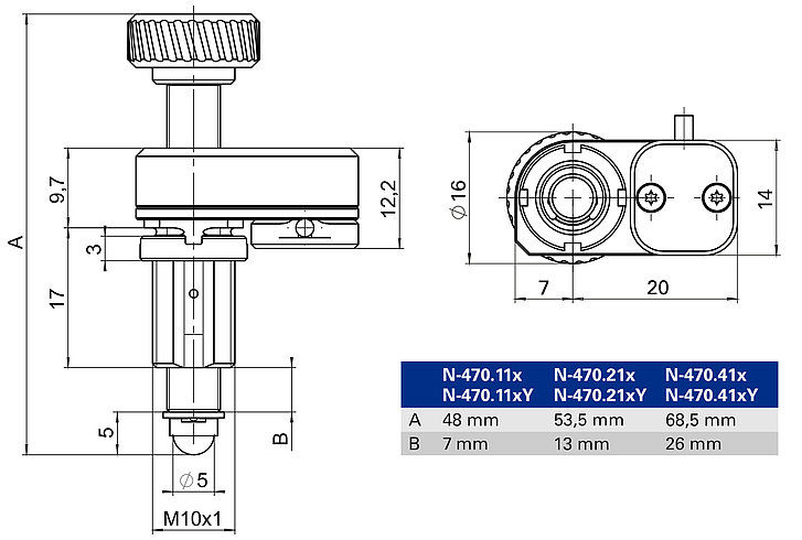 N-470 with mounting thread, dimensions in mm. Note that the decimal places are separated by a comma in the drawings.