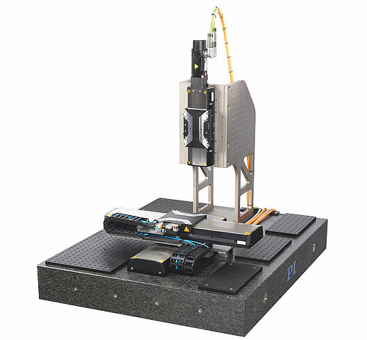 X-417.2xx with accessories: XY system and Z axis on granite plate (image without controller); X-417.Z02 perforated plate set