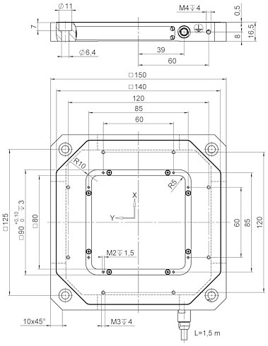 P-541.2 • P-542.2, dimensions in mm
