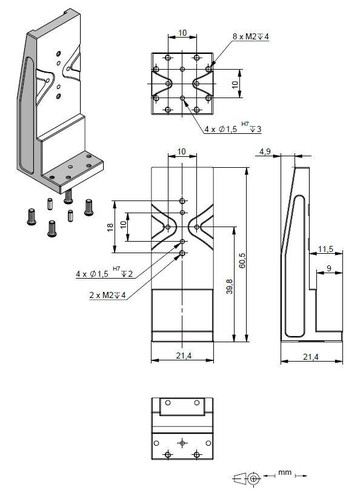 Adapter bracket Q-122.20U, dimensions in mm