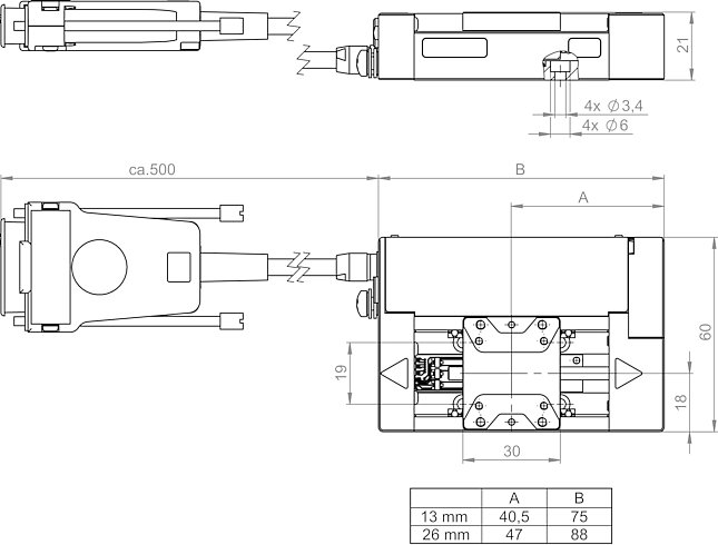L-505.xxxxxxF with belt drive, dimensions in mm