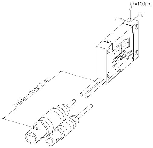 Direction of motion of the P-603. Flexure guides prevent tip and tilt at the output.